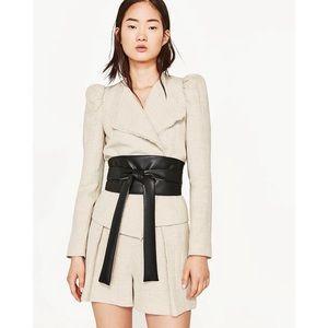 Zara Jacket Wide Sash Belt Beige Linen Career